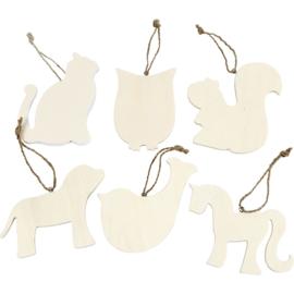Houten dierenhangers - set van 6 stuks