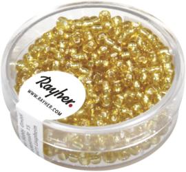 Rocailles rond - goudgeel met zilverkern