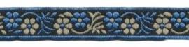 Lint - bloemen zwart & blauw & zand - 12 mm - 1 meter
