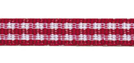 Lint - ruitjes - rood - 5mm - 5 meter