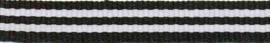 Lint - streepjes - zwart & wit - 10 mm - 1 meter