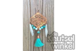 Ketting - Ibiza stijl -  rose goudkleurig met bluefoil jasper en jade