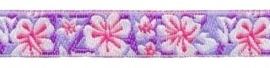 Lint - bloemen blauw & paars - 12 mm - 1 meter