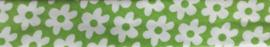 Lint - biaisband - bloemen groen - 20mm - 1 meter