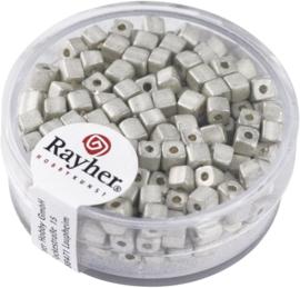 Rocailles vierkant - mat metallic - ivoorwit
