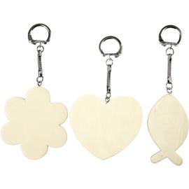 Houten sleutelhangers - set van 3 stuks