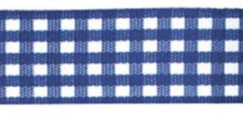 Lint - ruitjes - blauw - 10mm - 5 meter