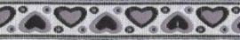 Lint - hartjes zilver & zwart & grijs - 12 mm - 1 meter
