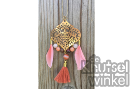 Ketting - Ibiza stijl -  goudkleurig met mookaiet en agaat