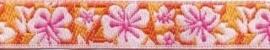 Lint - bloemen oranje & roze - 12 mm - 1 meter
