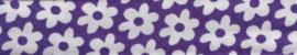 Lint - biaisband - bloemen paars - 20mm - 1 meter