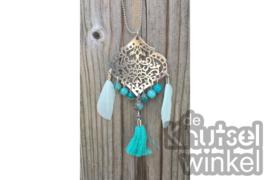 Ketting - Ibiza stijl -  zilverkleurig met bluefoil jasper