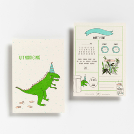 6 PARTY INVITATIONS DINOSAURUS