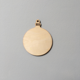 Cadeaulabel houten kerstbal