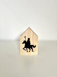 Houten huisje maat S | Sint op paard