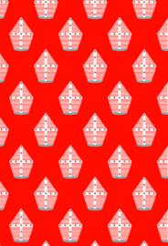 Cadeaupapier mijters rood (30 cm)