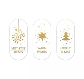 Stickers kerst ovaal wit-goud