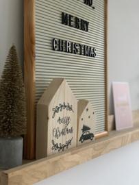 Houten huisje M Merry Christmas