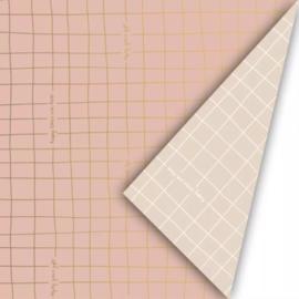 Cadeaupapier Roze grid (50 cm)