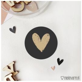 Sticker Hart zwart (10st)