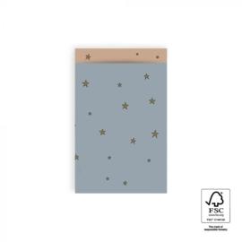 Cadeauzakjes M blauw sterren (5st)