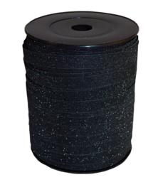 Krullint zwart glitter (5m)
