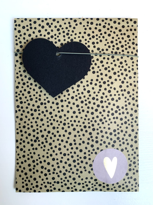 Cadeaulabel hartje zwart (5st)
