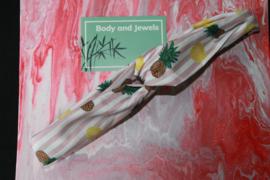 Haarband Twist Ananas Streep Wit Paars