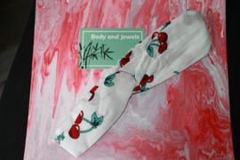 Haarband Twist Kersen Rood Wit