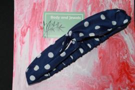 Haarband Twist Stippen Donker Blauw Wit