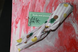 Haarband Twist Ananas Streep Wit Roze