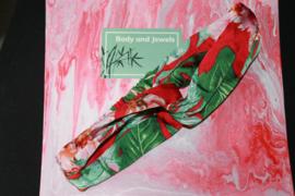 Haarband Twist Bloemen Print Donkergroen Roze