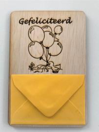 Gefeliciteerd met envelop erop
