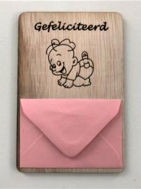 Gefeliciteerd baby roze