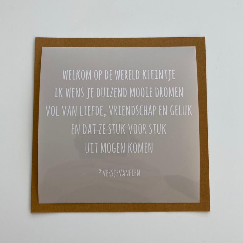 Raamsticker Welkom op de Wereld 13 cm x 13 cm (5 stuks)