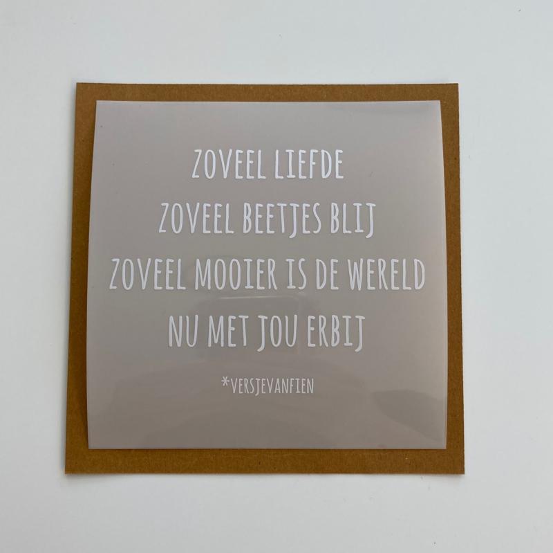 Raamsticker Zoveel Liefde 13 cm x 13 cm (5 stuks)