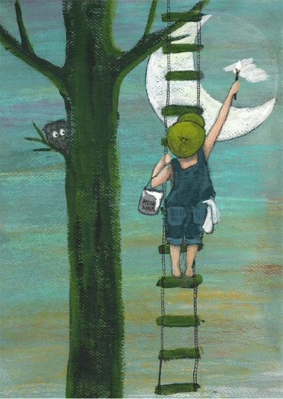 Painting a full moon | Losse afbeelding