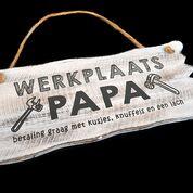 Woodart bordje hangend 12x30cm werkplaats papa antique white