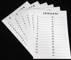 Inlegset  voor woodart kalender 35 cm. Gebroken wit
