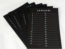 Inlegset  voor woodart kalender 35 cm. Zwart