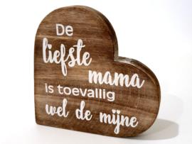 Woodart Teksthart M 15 cm Liefste mama naturel moederdag