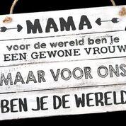 Woodart tekstbord hangend 20x28cm mama wereld antique white moederdag