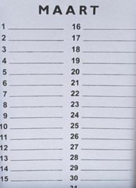 Inlegset  voor woodart kalender 28 cm. wit