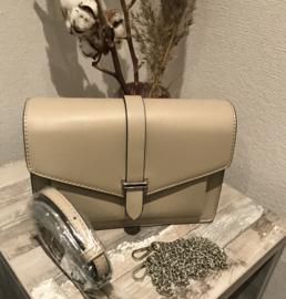 Harde tas, envelop model beige/taupe