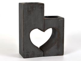 Waxinelichthouder hart set 15x12 antique grey