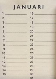 Inlegset  voor woodart kalender 28 cm. Creme