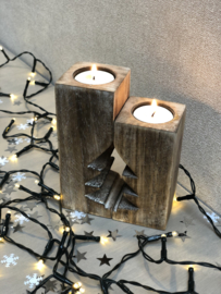Waxinehouder kerstboom set 15 x 12 naturel