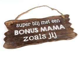 Woodart Bordje hangend 12x30 cm. bonus mama naturel moederdag