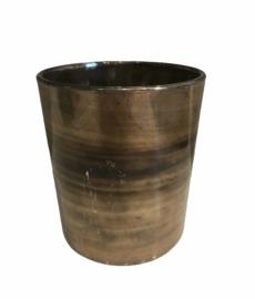 Waxinelichthouder Yana goud/bruin 9 x 10