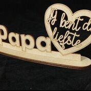 WA papa hart met voetstuk 10x24cm papa liefste natural